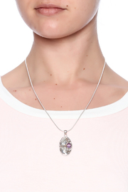 Eyes of the World Imports Sterling Amethyst Pendant - Back cropped