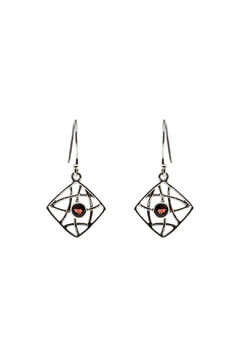 Eyes of the World Imports Sterling Garnet Earrings - Alternate List Image
