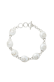 Eyes of the World Imports Sterling Shell Bracelet - Front cropped