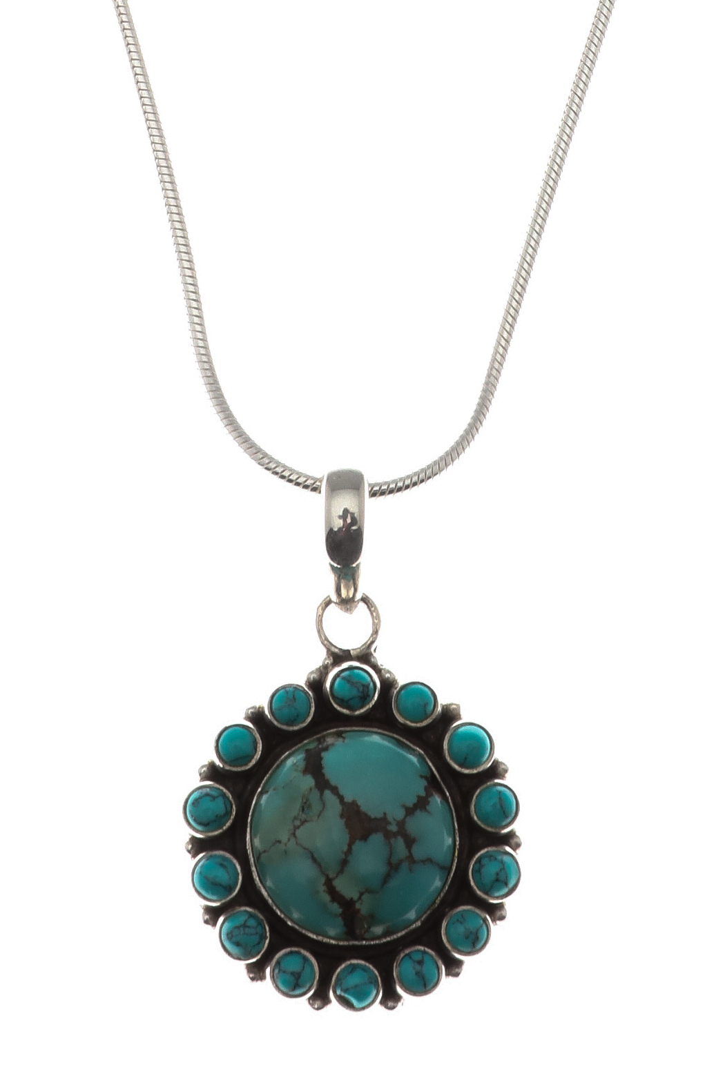 Eyes of the World Imports Sterling Turquoise Pendant - Front Full Image
