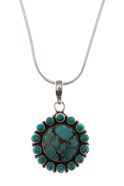 Eyes of the World Imports Sterling Turquoise Pendant - Front full body