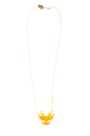 f_licie aussi Enamel Deer Mask Necklace - Front cropped