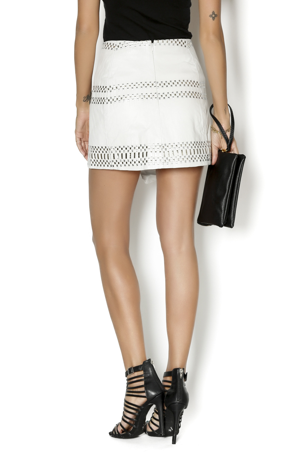 Parker Westin Leather Skirt - Back Cropped Image