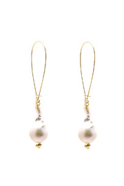 ZIA Boutique Baroque Pearl Earrings - Front cropped