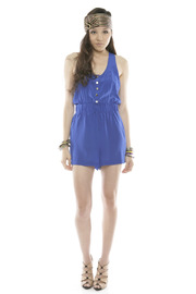 Shoptiques Product: Tie-Waist Silk Romper - Front full body