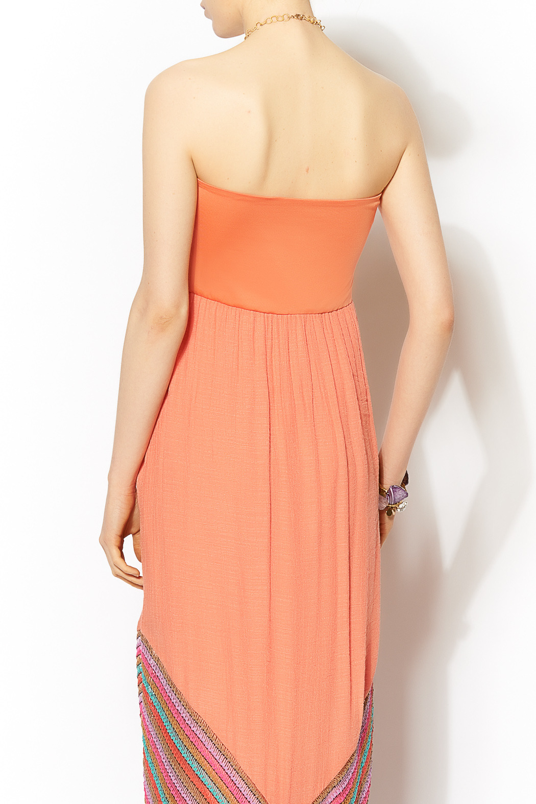 Missy Robertson Coral Chevron Detail Maxi - Back Cropped Image