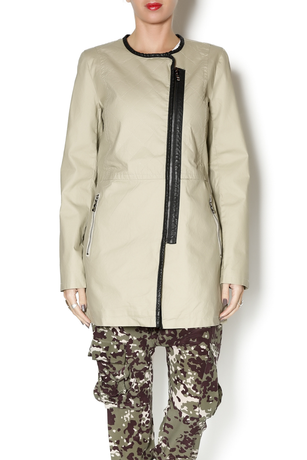 Katherine Barclay Collarless Coat - Front Cropped Image