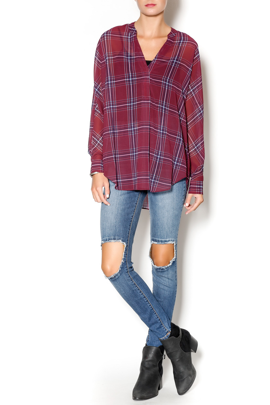 Gentle Fawn West Plaid Blouse - Front Full Image