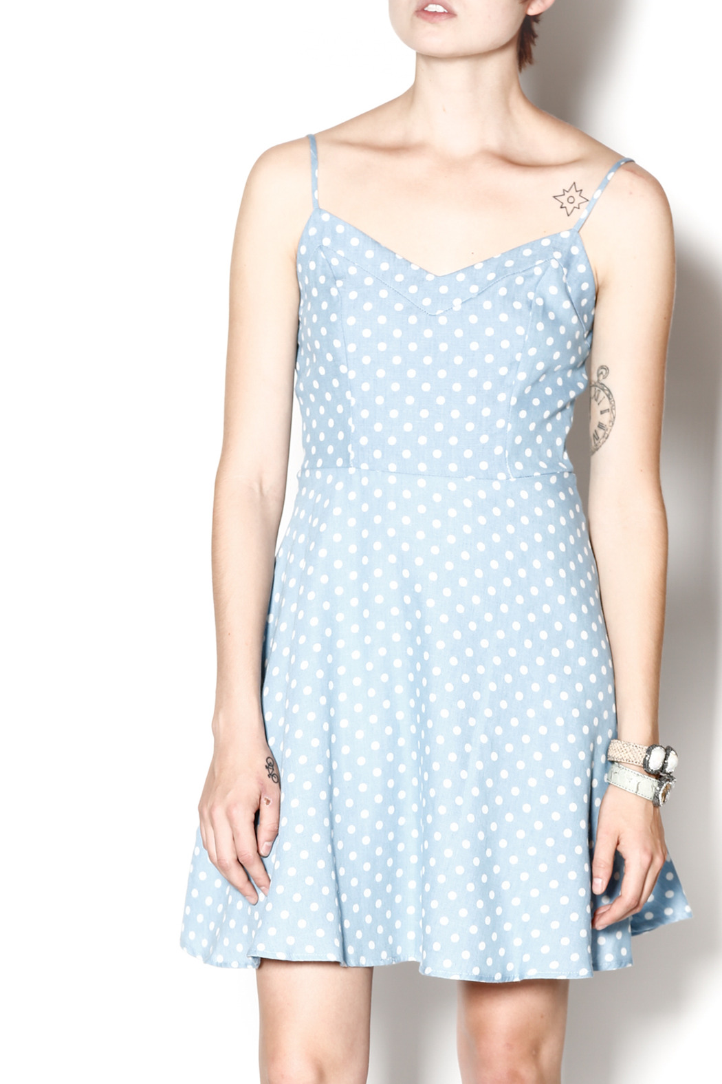 Everly Dotty Chambray Dress - Front Cropped Image