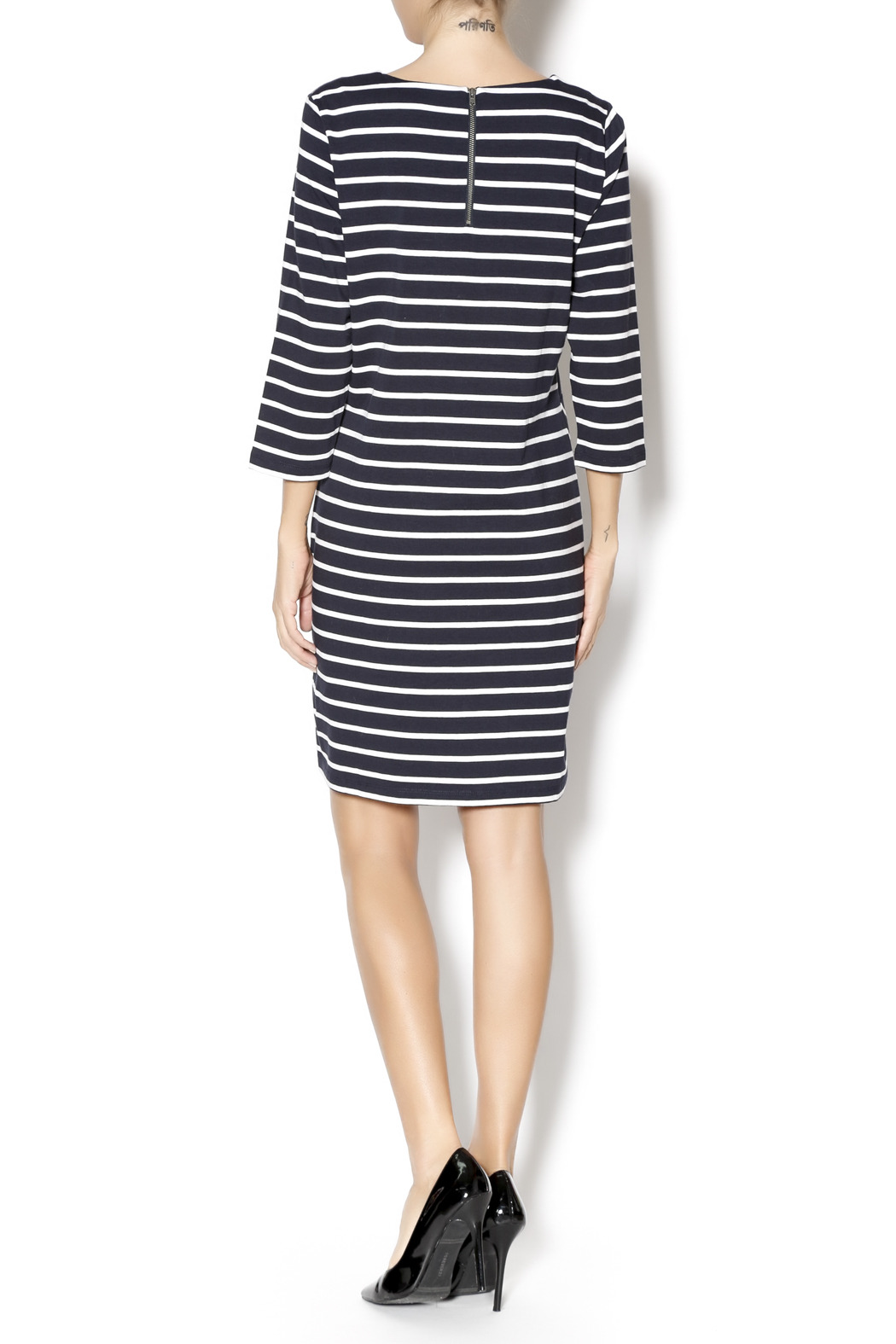 Yest Navy Stripes Dress - Side Cropped Image