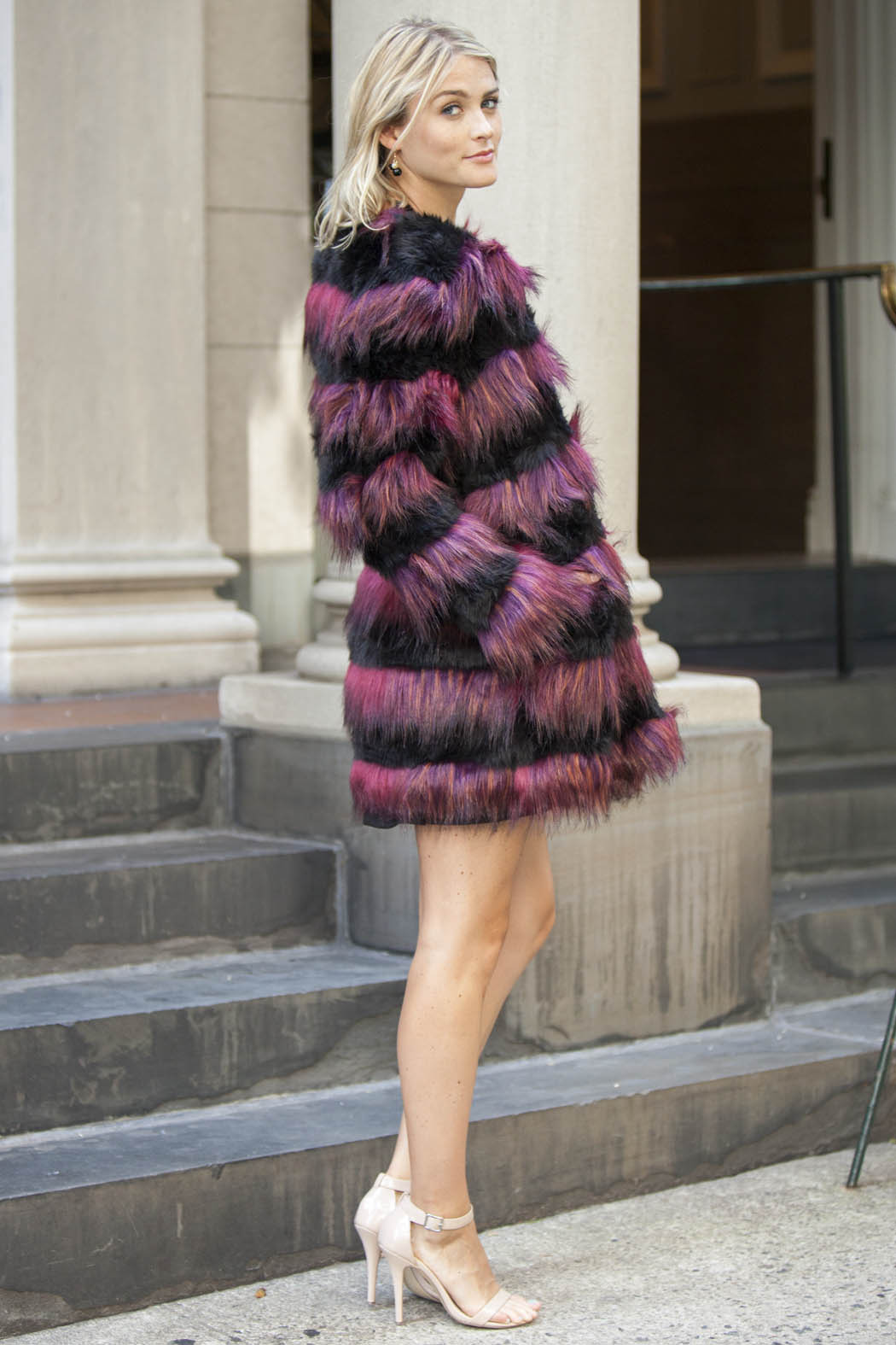 Derhy Striped Fur Coat - Side Cropped Image
