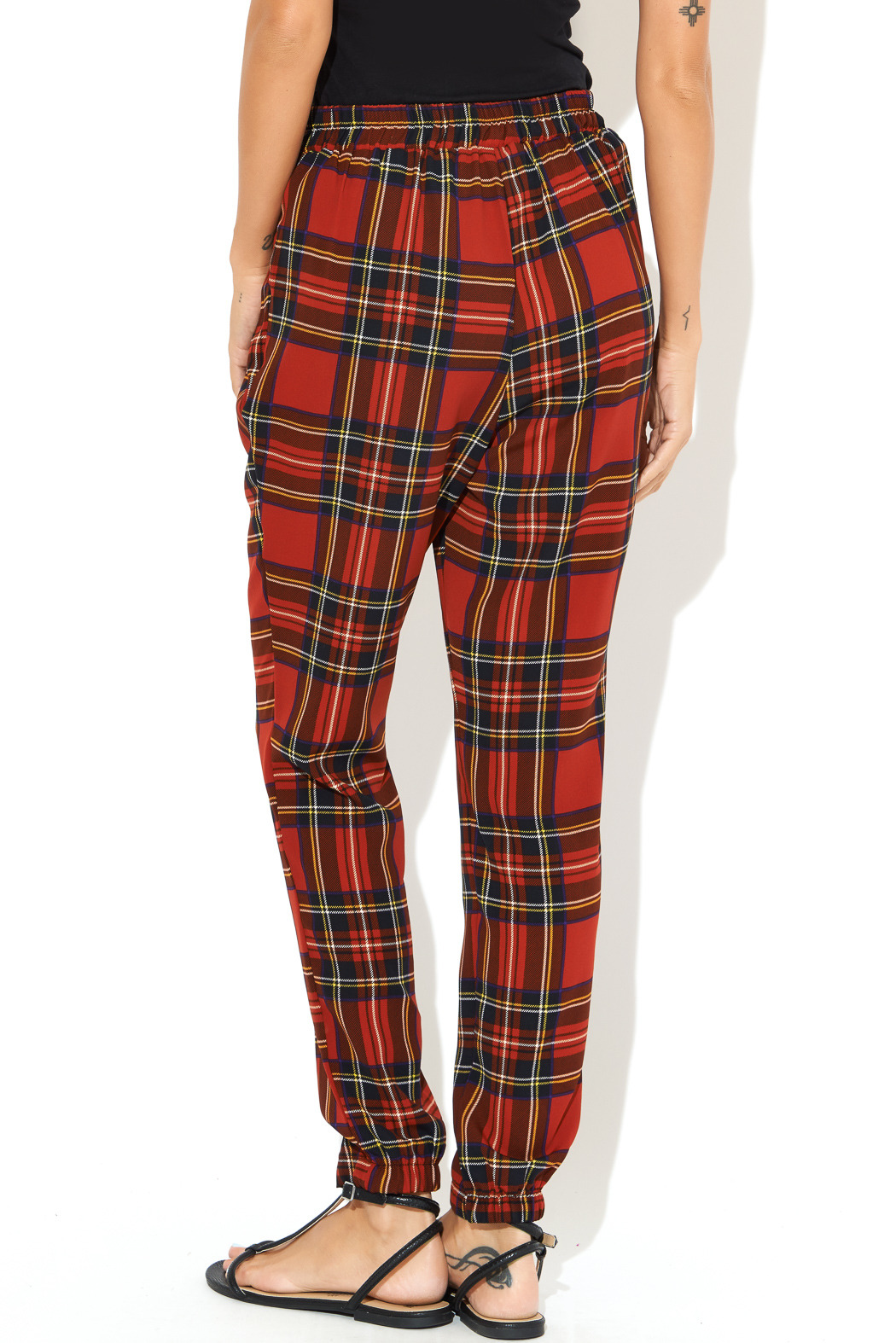 See You Monday Red Tartan Print Pants - Back Cropped Image