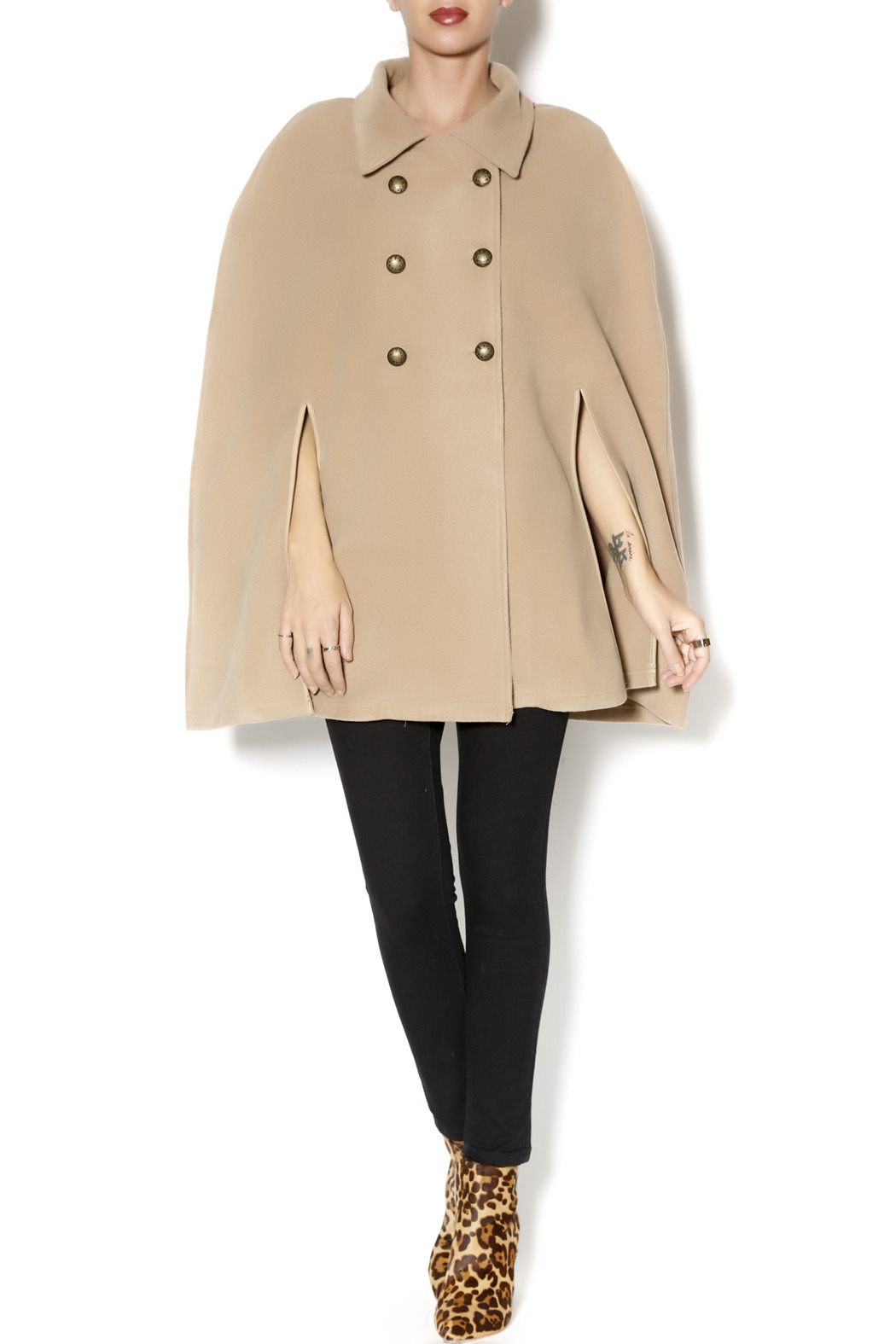 Charlie Paige Trench Coat Poncho - Front Full Image