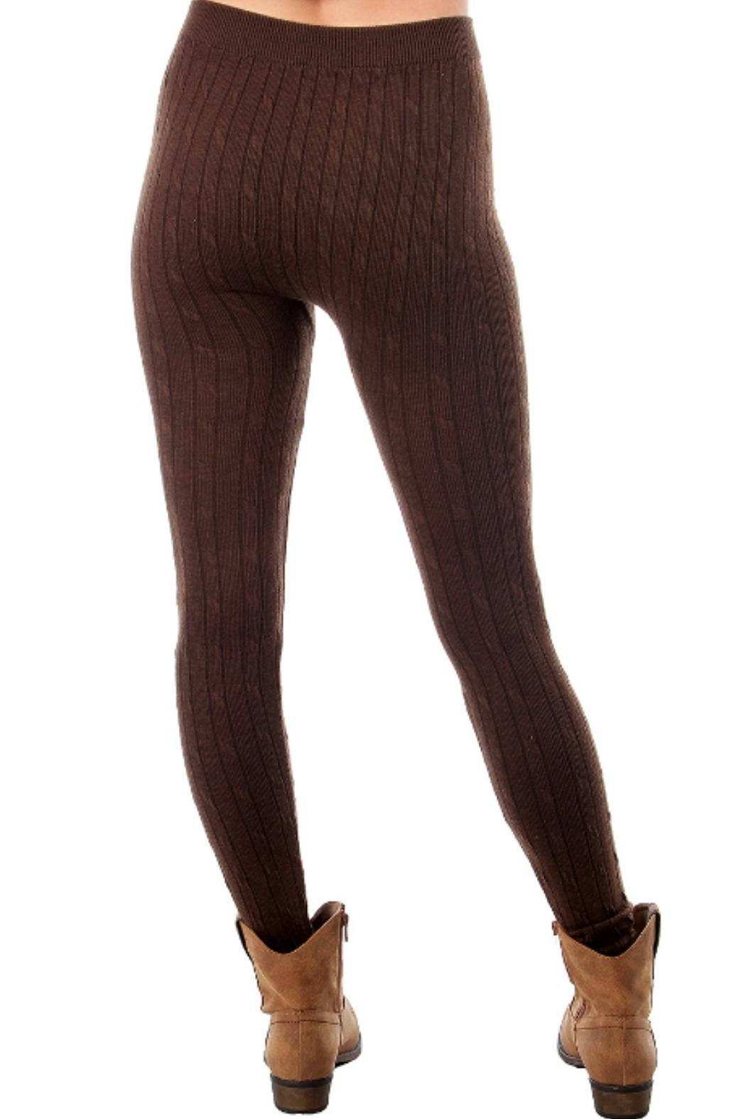 F $ F Sweater Cable Leggings - Front Full Image