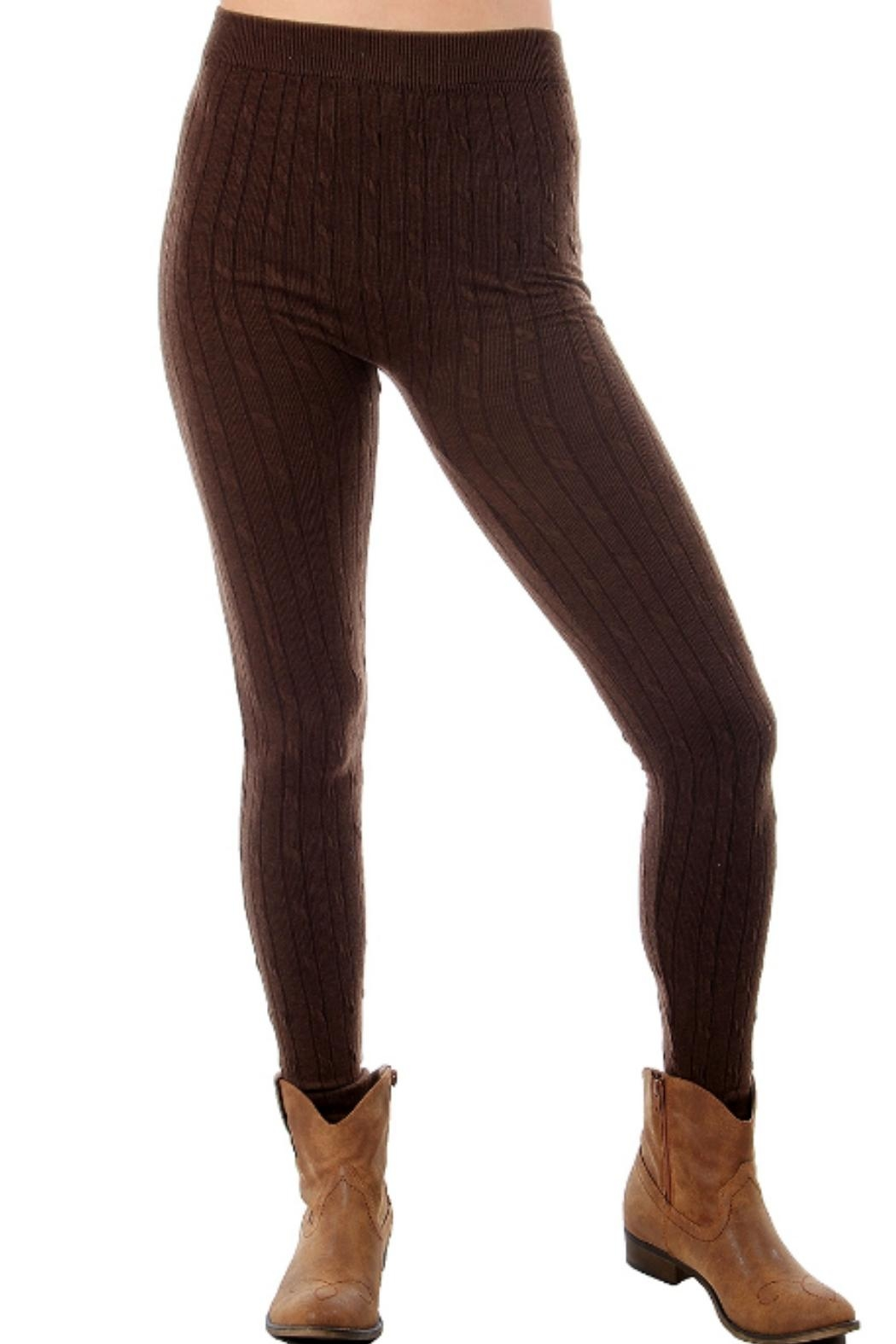 F $ F Sweater Cable Leggings - Front Cropped Image