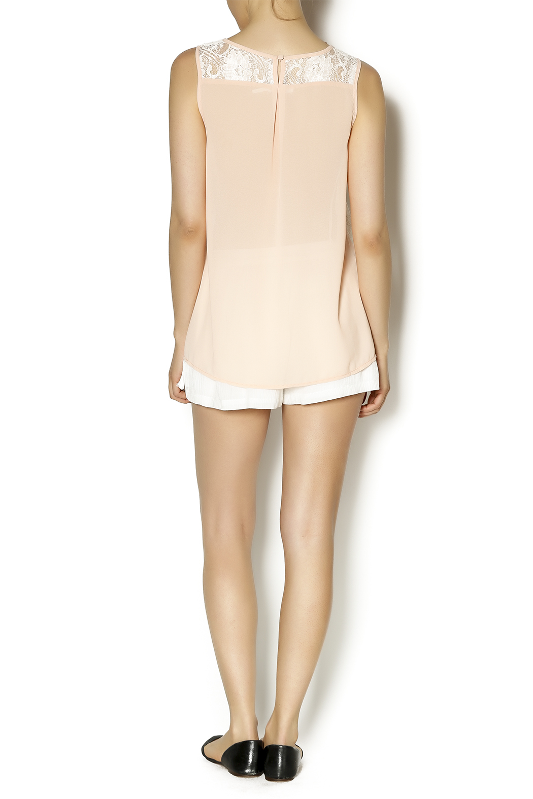 Blu Pepper Peach Embroidered Top - Side Cropped Image