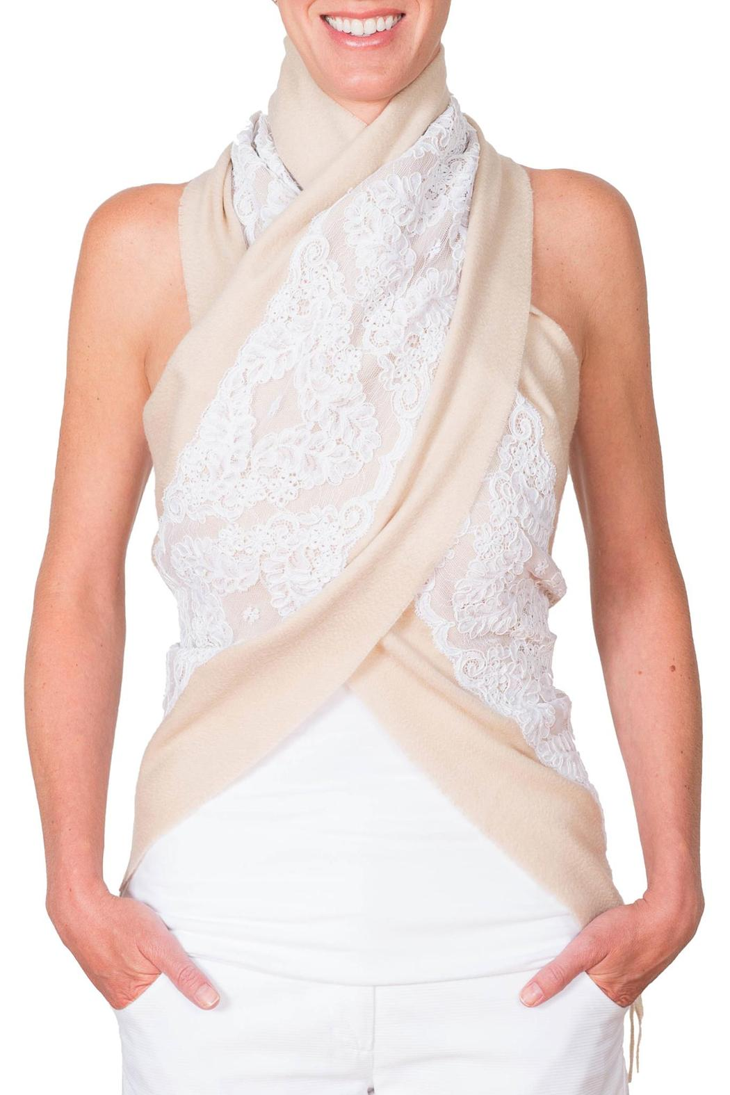 CLAIRE FLORENCE White Lace Travel Scarf - Front Full Image