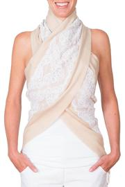CLAIRE FLORENCE White Lace Travel Scarf - Front full body