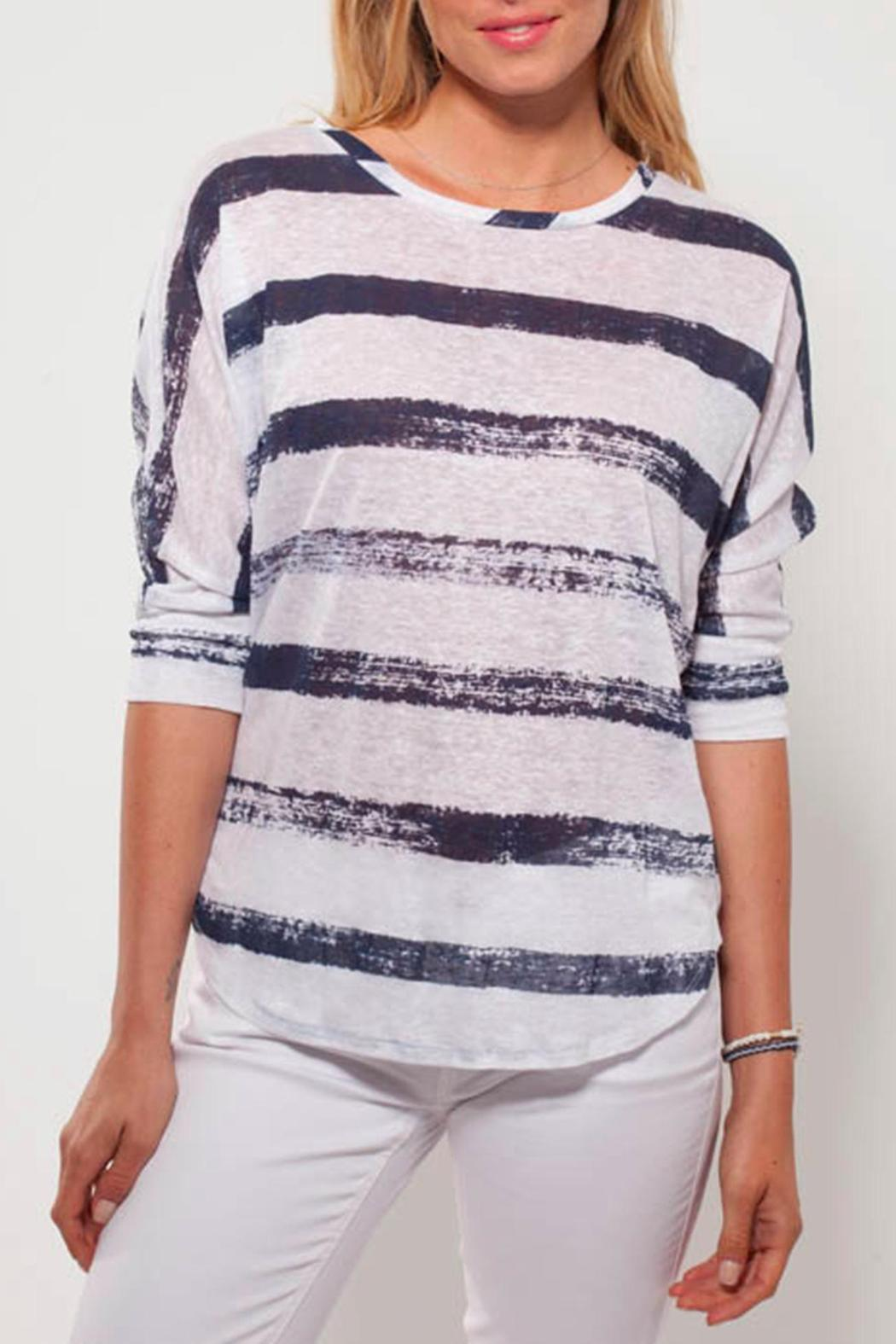 Ecru Striped Linen Tee - Front Cropped Image