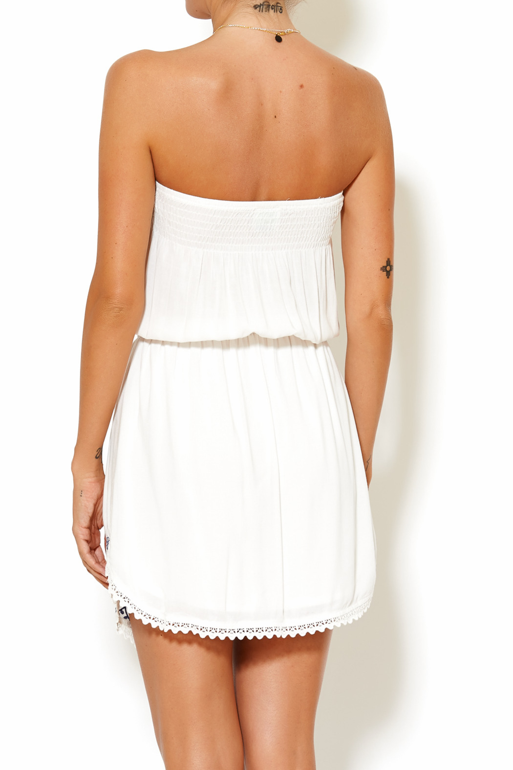 y&i clothing boutique Embroidered Tube Dress - Back Cropped Image