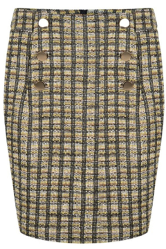 EsQualo Fabricated Skirt w/ Button Detail - Product List Image