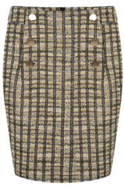EsQualo Fabricated Skirt w/ Button Detail - Product Mini Image