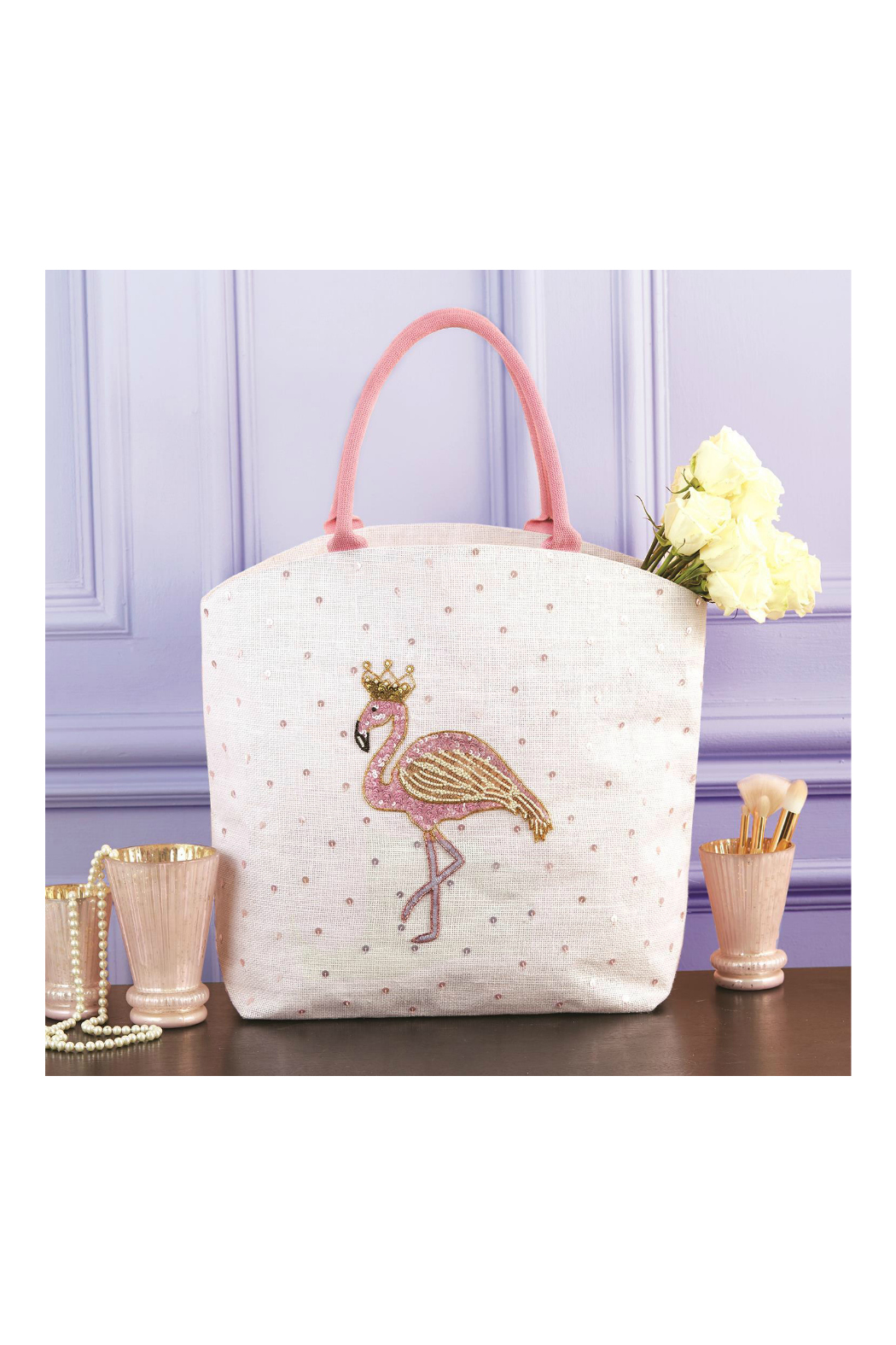 Two's Company Fabulous Flamingo Beaded Sequin Tote Bag - Jute/Glass Beads/Sequins - Front Full Image