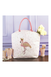 Two's Company Fabulous Flamingo Beaded Sequin Tote Bag - Jute/Glass Beads/Sequins - Front full body