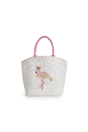 Two's Company Fabulous Flamingo Beaded Sequin Tote Bag - Jute/Glass Beads/Sequins - Front cropped