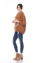 sisters Face Oversize Pullover - Front full body