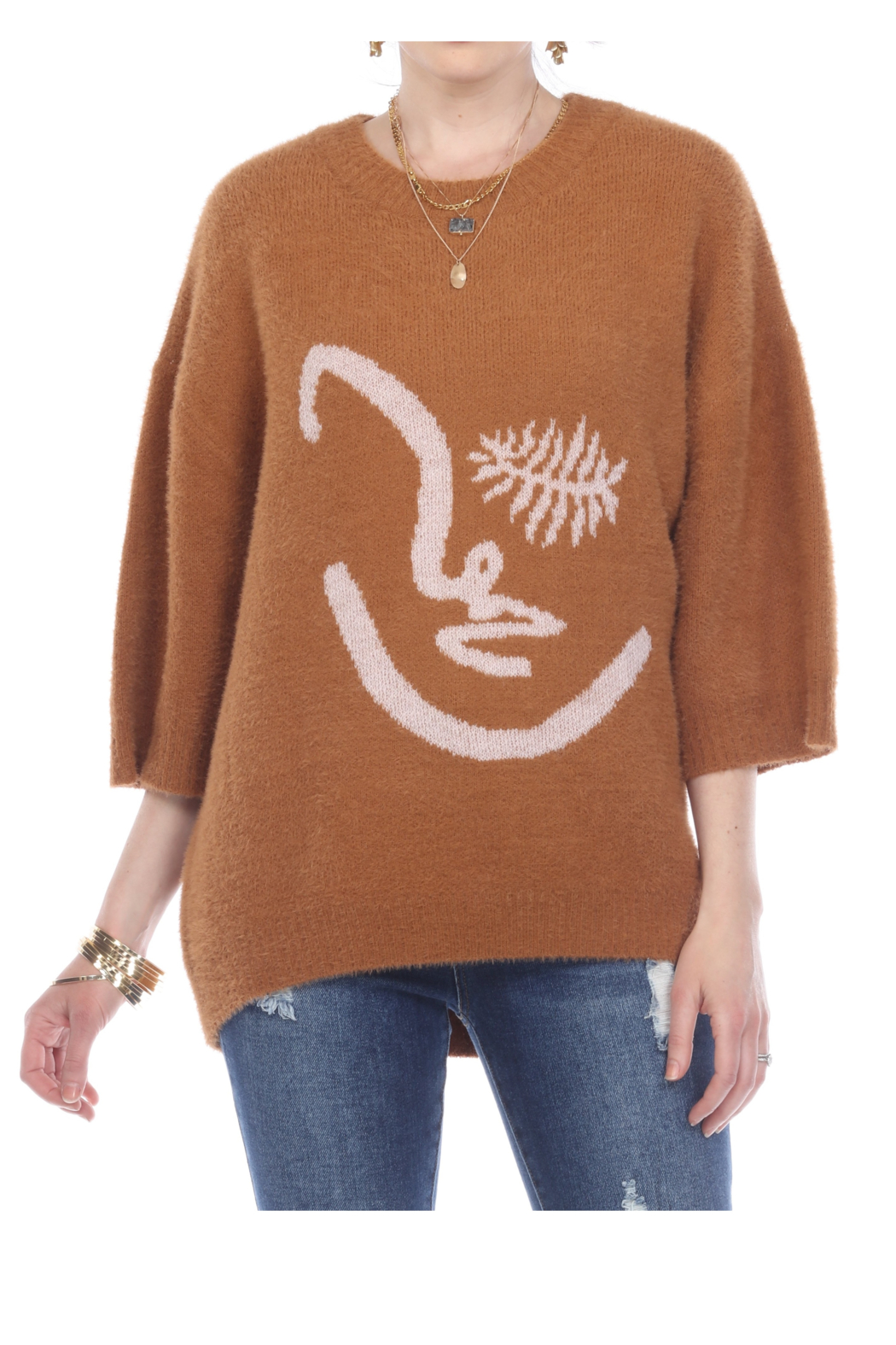 sisters Face Oversize Pullover - Side Cropped Image