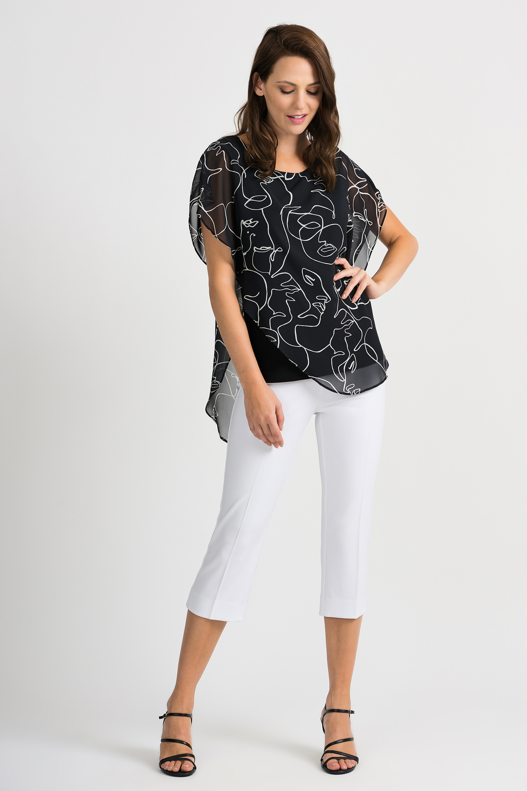 Joseph Ribkoff Face Time Overlay Top, Black/Vanilla - Back Cropped Image
