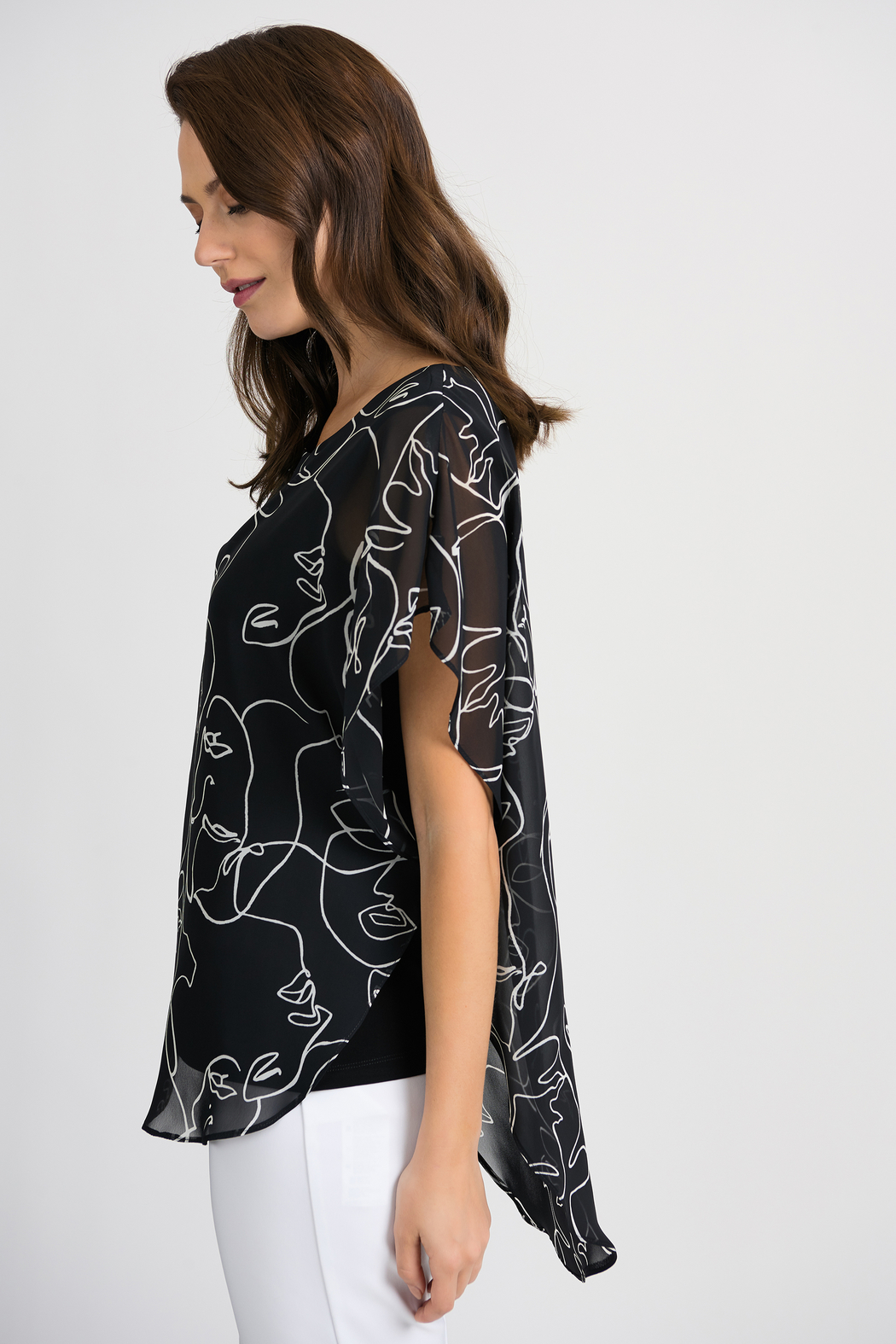 Joseph Ribkoff Face Time Overlay Top, Black/Vanilla - Front Full Image