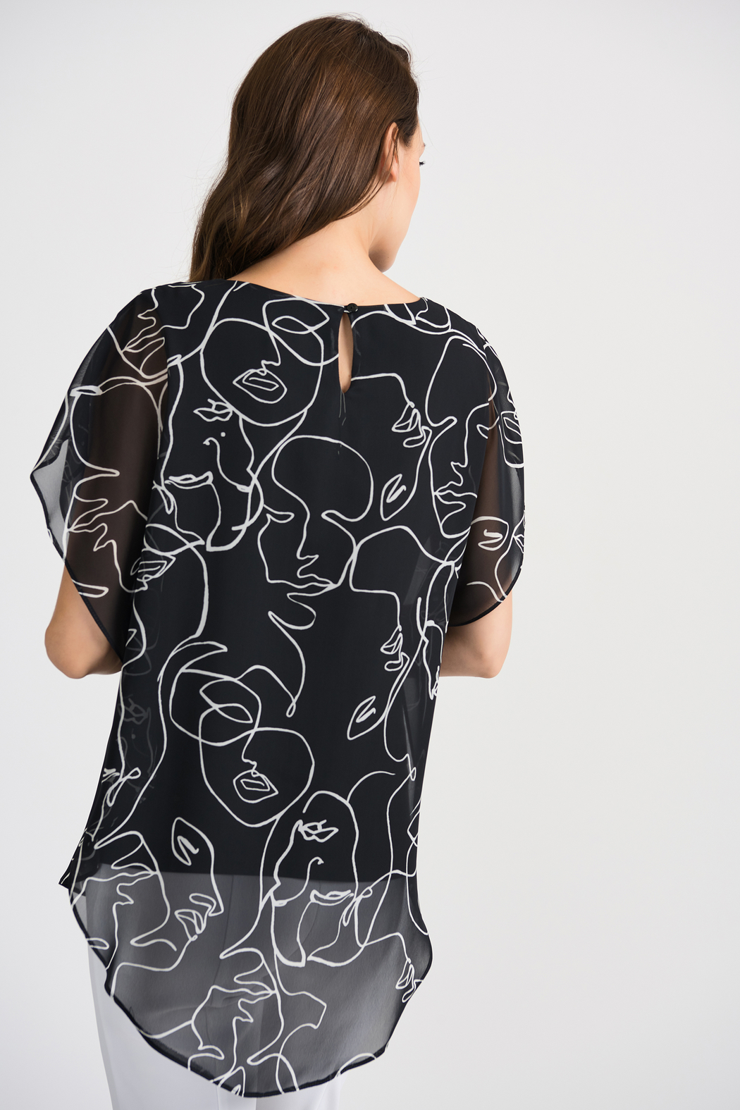 Joseph Ribkoff Face Time Overlay Top, Black/Vanilla - Side Cropped Image