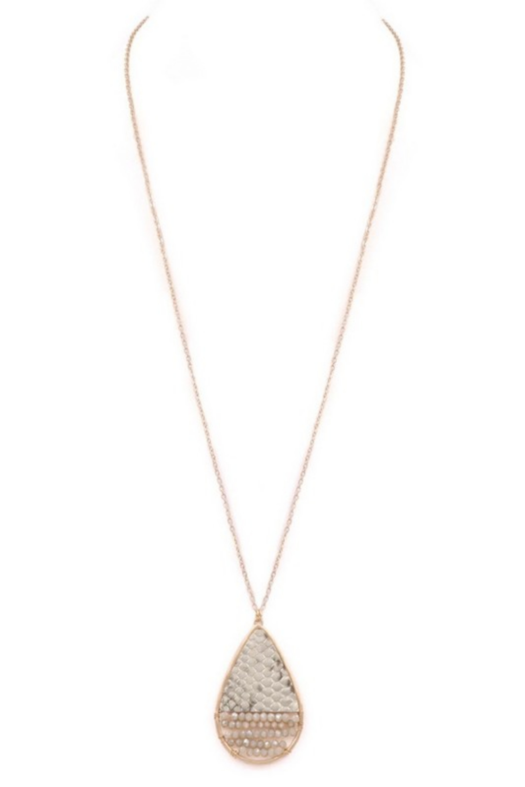 Art Box Faceted Bead Teardrop Long Necklace - Main Image