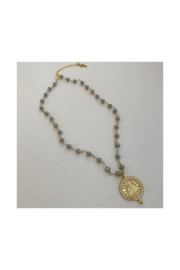 The Birds Nest FACETED GREY ROSARY CHAIN W/ MARY - Product Mini Image