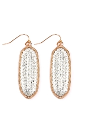 Riah Fashion Faceted-Oval-Giltter Drop Earrings - Product Mini Image