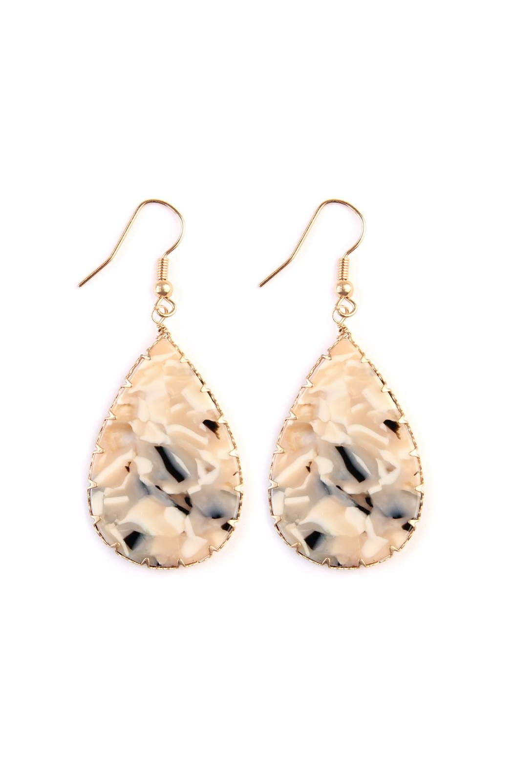 Riah Fashion Faceted Teardrop Marble Earrings Front Cropped Image
