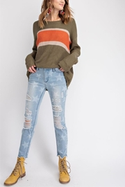 easel Faded Color-Block Top - Front full body