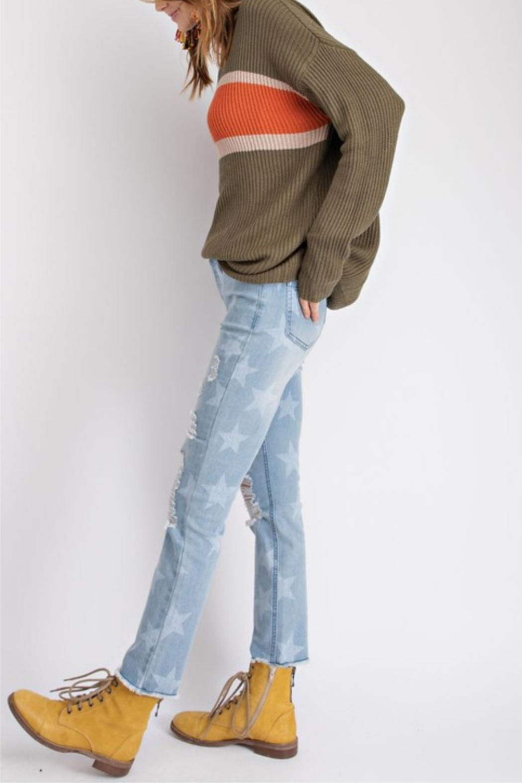 easel Faded Color-Block Top - Back Cropped Image