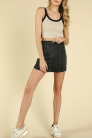Honey Punch Faded Denim Skirt - Front cropped