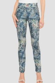 Joseph Ribkoff Faded Floral Sueded Jean - Product Mini Image