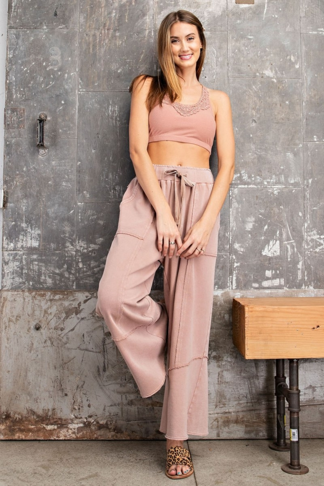 Easel  Faded Mushroom Pullover Mineral Wide Leg Pant Set - Front Full Image