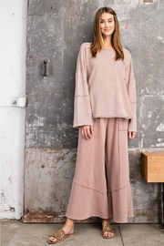 Easel  Faded Mushroom Pullover Mineral Wide Leg Pant Set - Front cropped