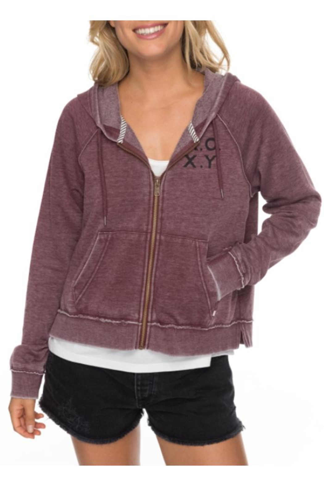 Roxy Faded Zip-Up Hoodie - Front Full Image