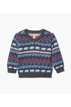 Hatley Fair Isle Polar Bars V-Neck Sweater - Alternate List Image