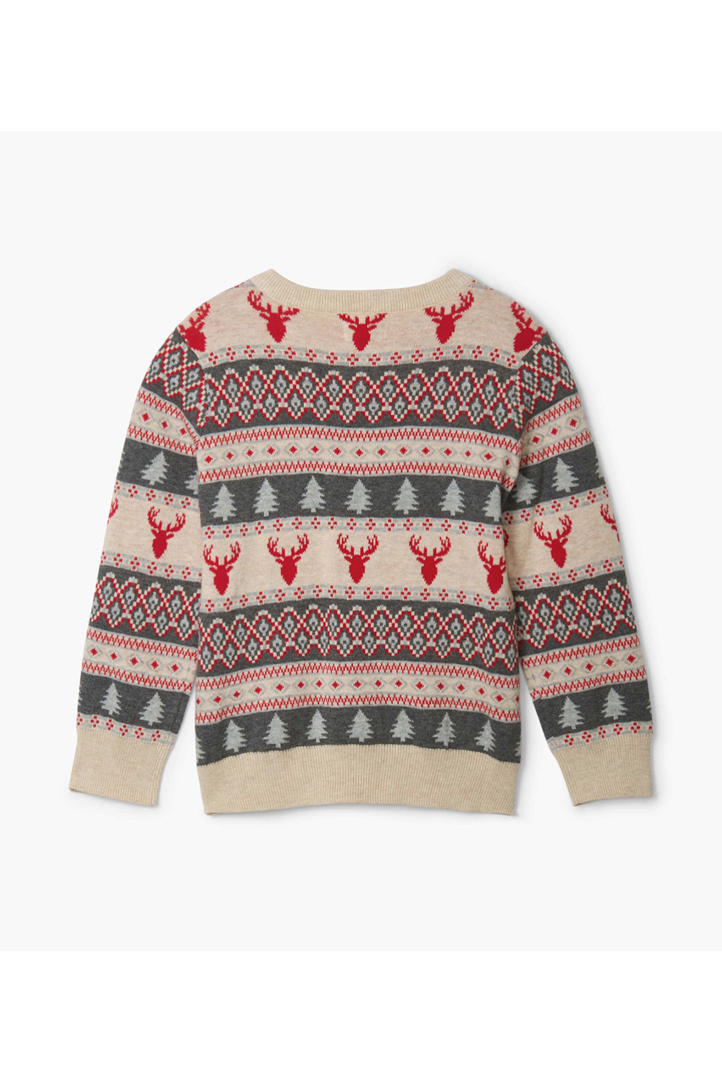 Hatley Fair Isle Stag V-Neck Sweater - Front Full Image