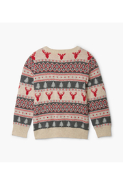 Hatley Fair Isle Stag V-Neck Sweater - Front full body