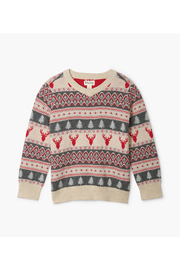 Hatley Fair Isle Stag V-Neck Sweater - Front cropped