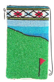 Mary Frances FAIRWAY GOLF THEME BEADED CROSS BODY PHONE BAG - Front cropped